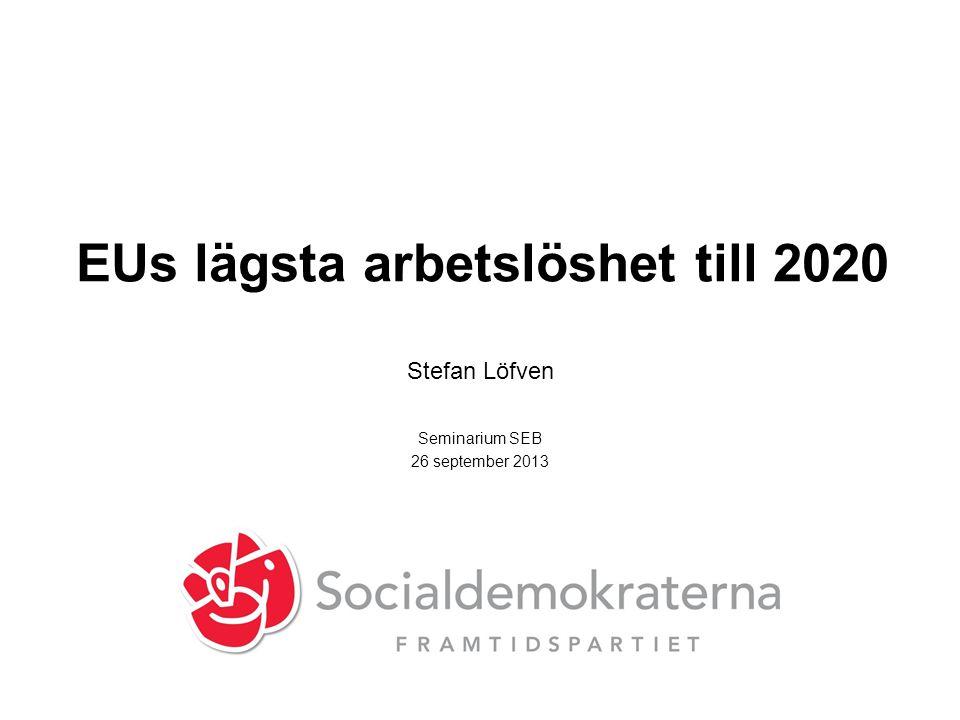 EUs lägsta arbetslöshet till 2020 Stefan Löfven Seminarium SEB 26 september 2013