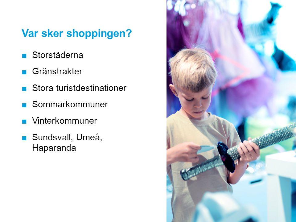Var sker shoppingen? ■Storstäderna ■Gränstrakter ■Stora turistdestinationer ■Sommarkommuner ■Vinterkommuner ■Sundsvall, Umeå, Haparanda