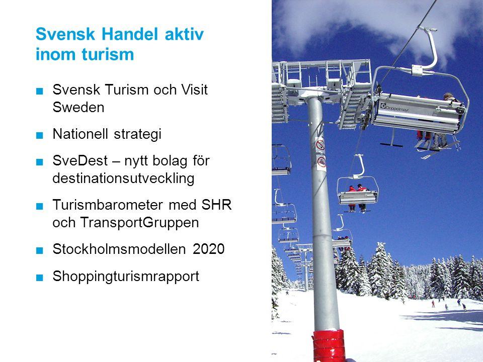 Svensk Handel aktiv inom turism ■Svensk Turism och Visit Sweden ■Nationell strategi ■SveDest – nytt bolag för destinationsutveckling ■Turismbarometer