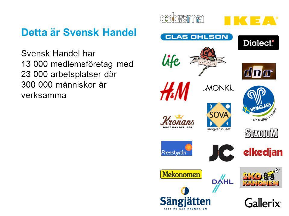 Detta är Svensk Handel Svensk Handel har 13 000 medlemsföretag med 23 000 arbetsplatser där 300 000 människor är verksamma