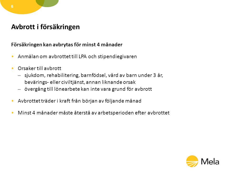 Arbete utomlands •Arbetet kan försäkras om – villkoren för en försäkring uppfylls – stipendiaten omfattas av den finländska sociala tryggheten •Avgörs av Pensionsskyddscentralen och FPA •Reglerna varierar beroende på land – kontakta LPA •Kortvariga besök, konferens-, mäss- eller konsertresor fordrar inga specialåtgärder •Residensarbete eller längre forskarbesök – kontakta LPA 7
