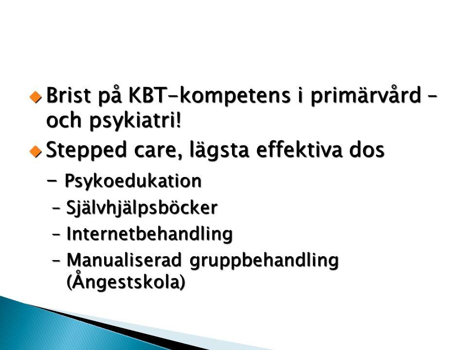  Brist på KBT-kompetens i primärvård – och psykiatri!  Stepped care, lägsta effektiva dos - Psykoedukation –Självhjälpsböcker –Internetbehandling –M