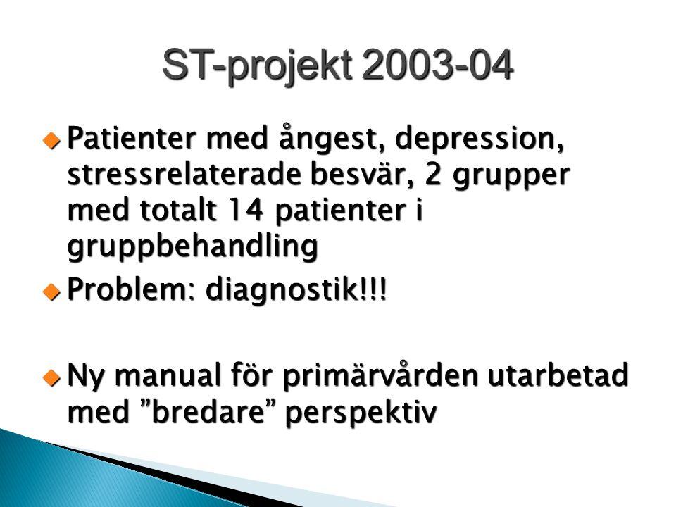 ST-projekt 2003-04  Patienter med ångest, depression, stressrelaterade besvär, 2 grupper med totalt 14 patienter i gruppbehandling  Problem: diagnos