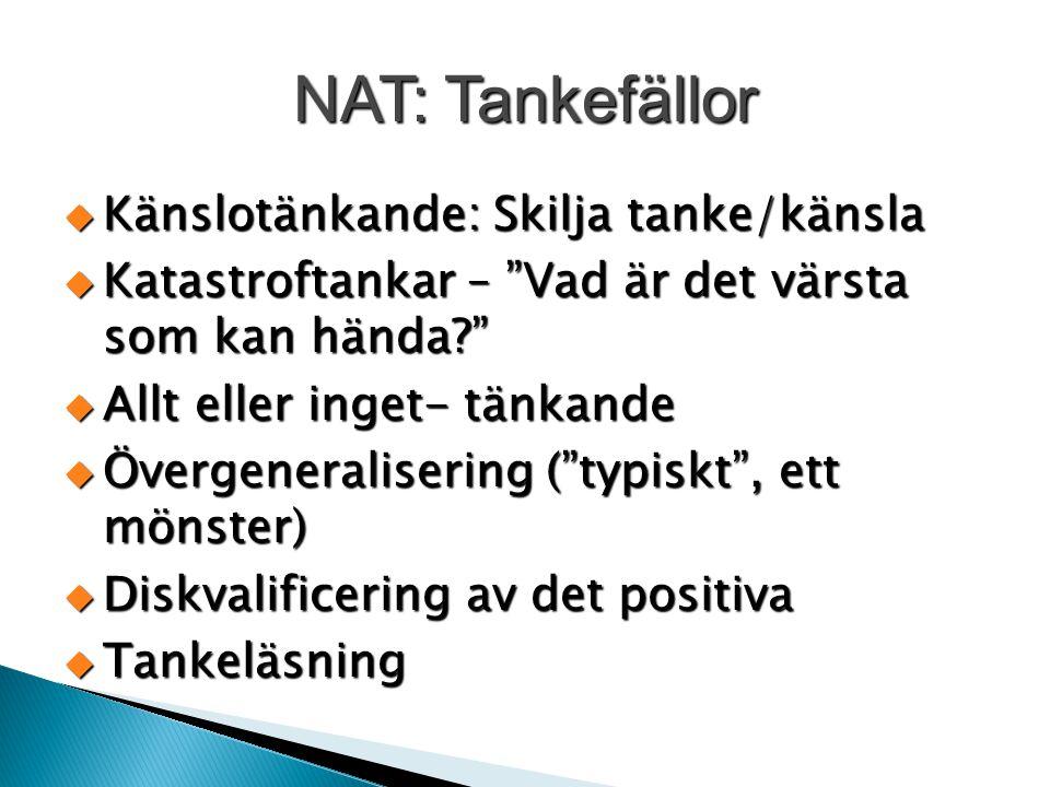 """NAT: Tankefällor  Känslotänkande: Skilja tanke/känsla  Katastroftankar – """"Vad är det värsta som kan hända?""""  Allt eller inget- tänkande  Övergener"""