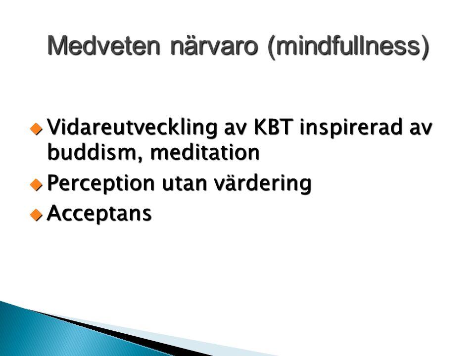 Medveten närvaro (mindfullness)  Vidareutveckling av KBT inspirerad av buddism, meditation  Perception utan värdering  Acceptans