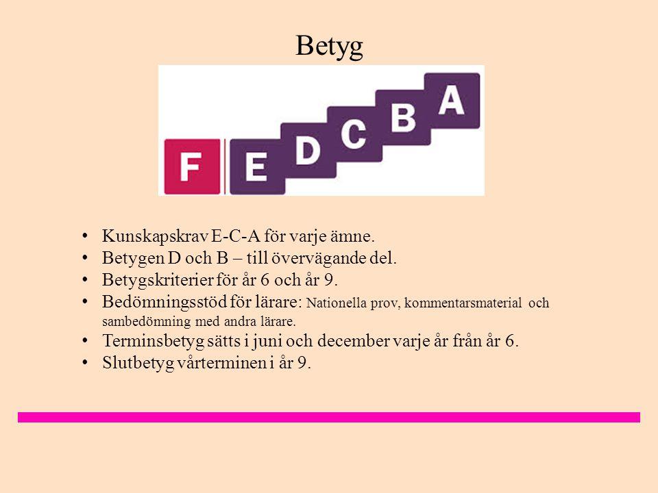 • Kunskapskrav E-C-A för varje ämne.• Betygen D och B – till övervägande del.