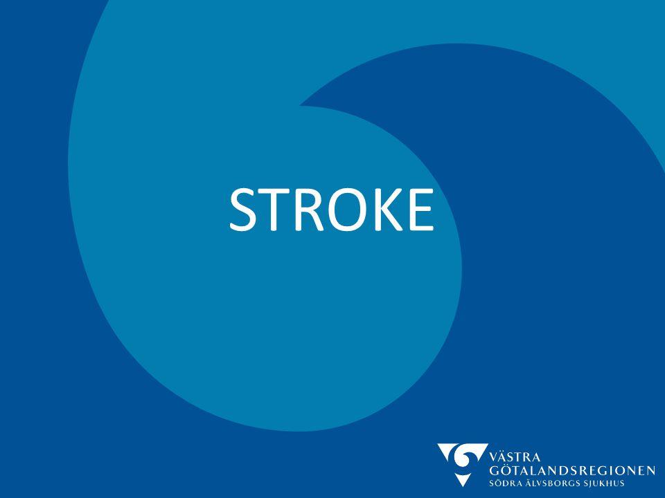 STROKE • Akut utredning – Anamnes: • Snabb insjuknande, ofta inom loppet av sekunder • Uteslut andra orsaker (Trauma, Ep, Infektion) – Status: • AT, RLS 85, EKG (Förmaksflimmer?),Lab, Neurologi – Datortomografi av hjärnan: • Blödning eller infarkt.