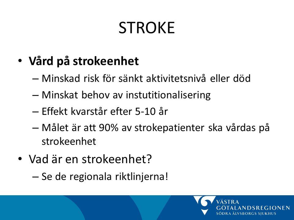 STROKE • Vård på strokeenhet – Minskad risk för sänkt aktivitetsnivå eller död – Minskat behov av instutitionalisering – Effekt kvarstår efter 5-10 år – Målet är att 90% av strokepatienter ska vårdas på strokeenhet • Vad är en strokeenhet.
