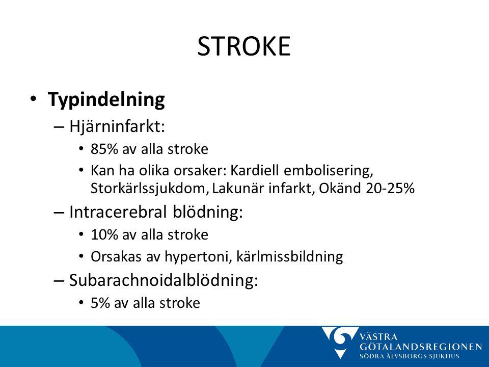 STROKE • Typindelning (forts) – TIA (Transitorisk ischemisk attack) • Är inte stroke • Ungefär lika vanligt som stroke • Övergående tillstånd av syrebrist i en del av hjärnan • Duration mindre än 24 timmar, i praktiken oftast 20-30 minuter • Varningssignal om hotande stroke • 10% får stroke inom 2 dagar