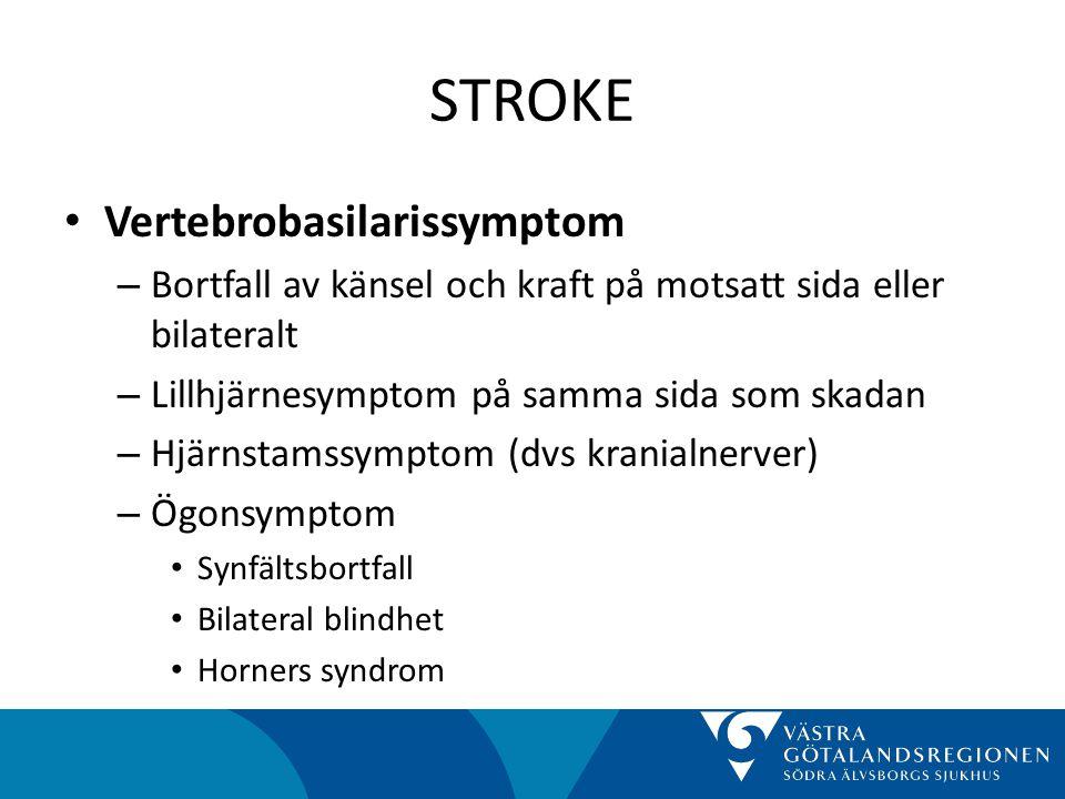 STROKE • Vertebrobasilarissymptom – Bortfall av känsel och kraft på motsatt sida eller bilateralt – Lillhjärnesymptom på samma sida som skadan – Hjärnstamssymptom (dvs kranialnerver) – Ögonsymptom • Synfältsbortfall • Bilateral blindhet • Horners syndrom