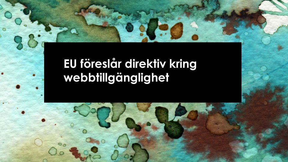 Förslag till direktiv • 12 services • WCAG 2.0 nivå AA • Minimikrav • Nationell uppföljning • EU-sanktionerad metodik