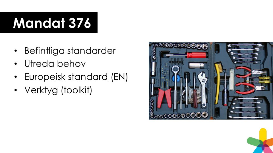 Mandat 376 • Befintliga standarder • Utreda behov • Europeisk standard (EN) • Verktyg (toolkit)