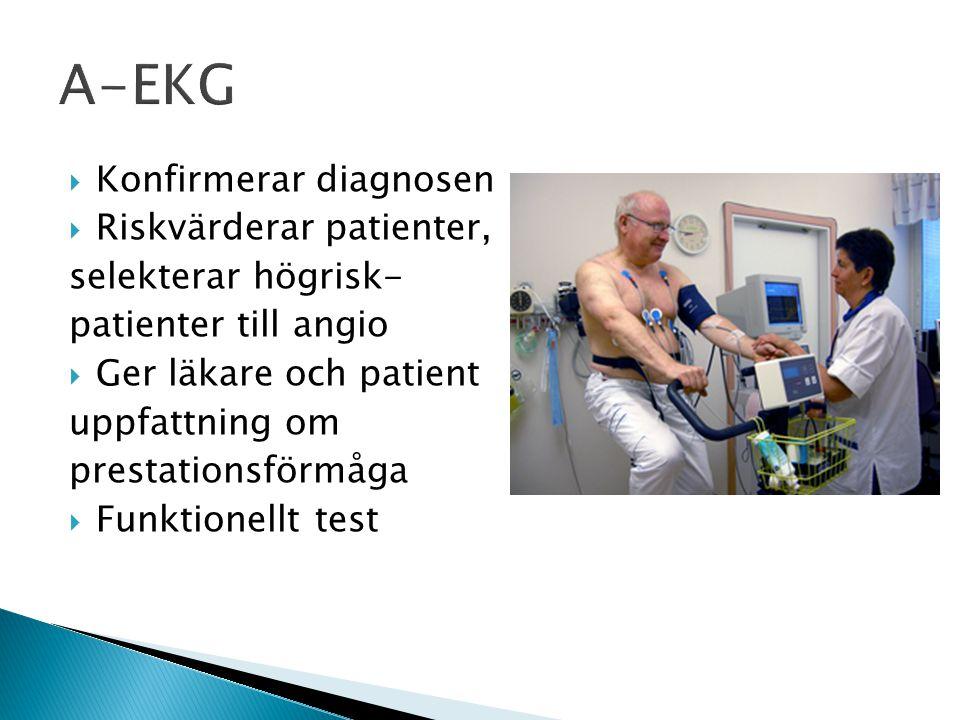  Konfirmerar diagnosen  Riskvärderar patienter, selekterar högrisk- patienter till angio  Ger läkare och patient uppfattning om prestationsförmåga