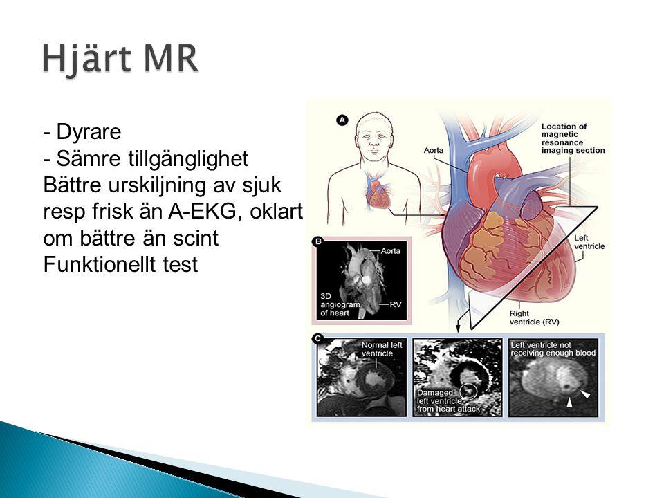  Anatomi, ej funktion  Kontrast-belastar njurar  Slipper sticka patienten  Screeningmetod ◦ -vid låg misstanke om IHD  Kan ej behandla pat, ◦ Kranskärlssjuka får göra konventionell angiografi också ◦ 120st/år i Göteborg