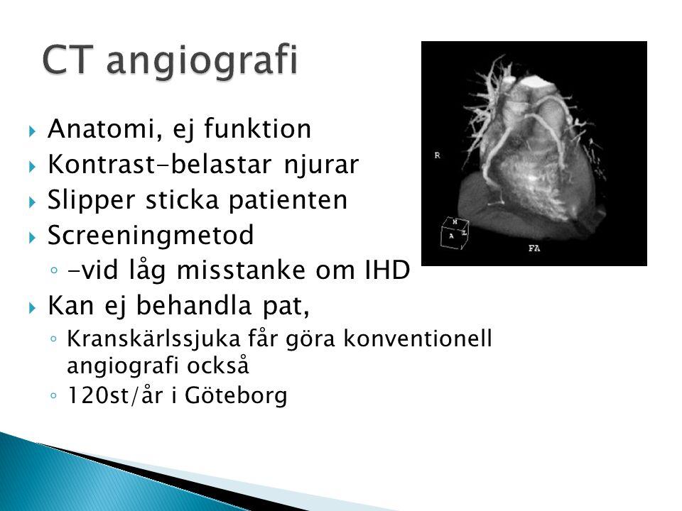 Koronarangiografi  Anatomi, ej funktion  Kontrast  Stick  Kan behandla pat  1200st -Gbg 2011  Komplikationsrisk ◦ Blödning 2-4% ◦ Stroke <0,5% ◦ Hjärtinfarkt 0,2% ◦ Död
