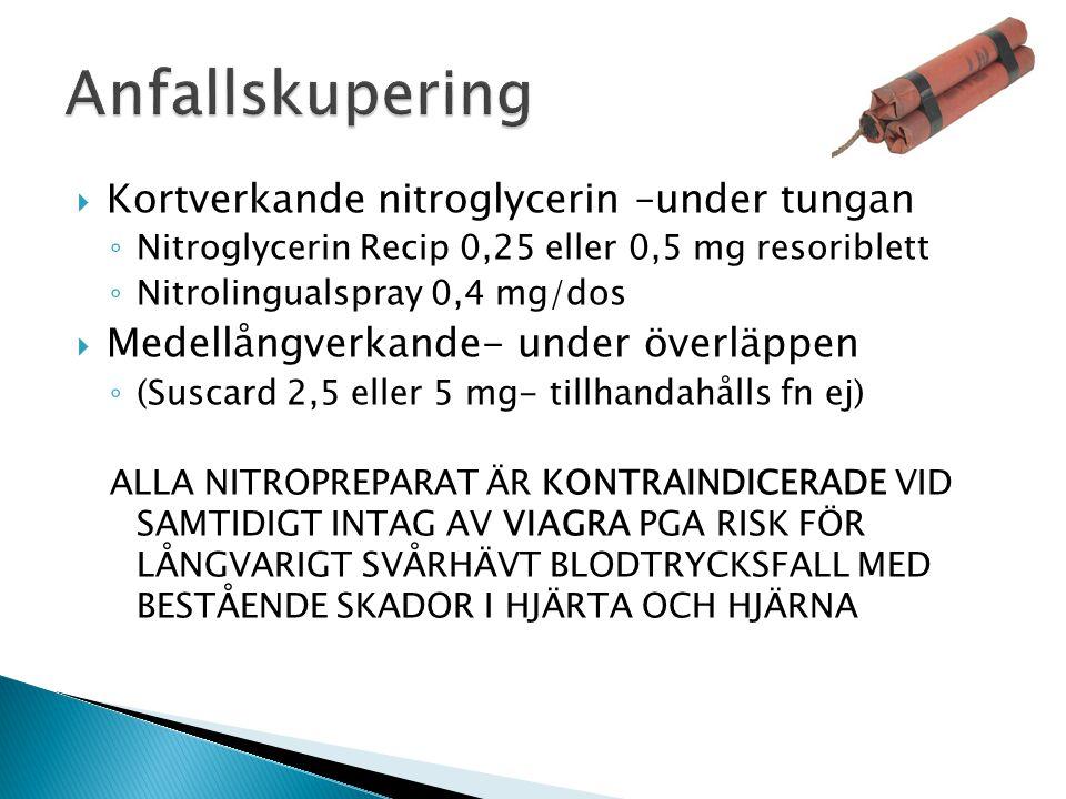  Kortverkande nitroglycerin –under tungan ◦ Nitroglycerin Recip 0,25 eller 0,5 mg resoriblett ◦ Nitrolingualspray 0,4 mg/dos  Medellångverkande- und