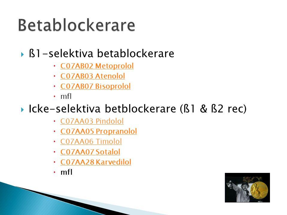  ß1-selektiva betablockerare  C07AB02 Metoprolol C07AB02 Metoprolol  C07AB03 Atenolol C07AB03 Atenolol  C07AB07 Bisoprolol C07AB07 Bisoprolol  mf