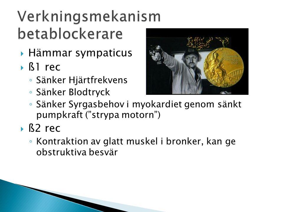  Akut obehandlad hjärtsvikt ◦ Hörnsten i behandling av stabil hjärtsvikt  Låg puls, AV block ◦ Behandling aktuell efter pacemaker.