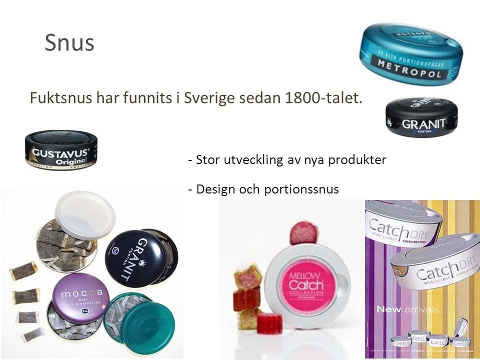 - Stor utveckling av nya produkter - Design och portionssnus Fuktsnus har funnits i Sverige sedan 1800-talet. Snus