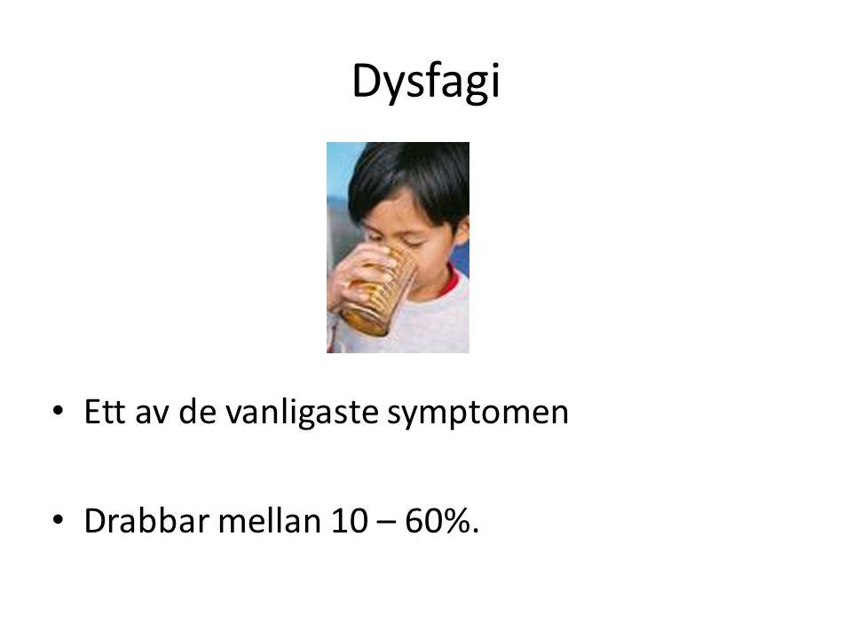 Dysfagi • Ett av de vanligaste symptomen • Drabbar mellan 10 – 60%.