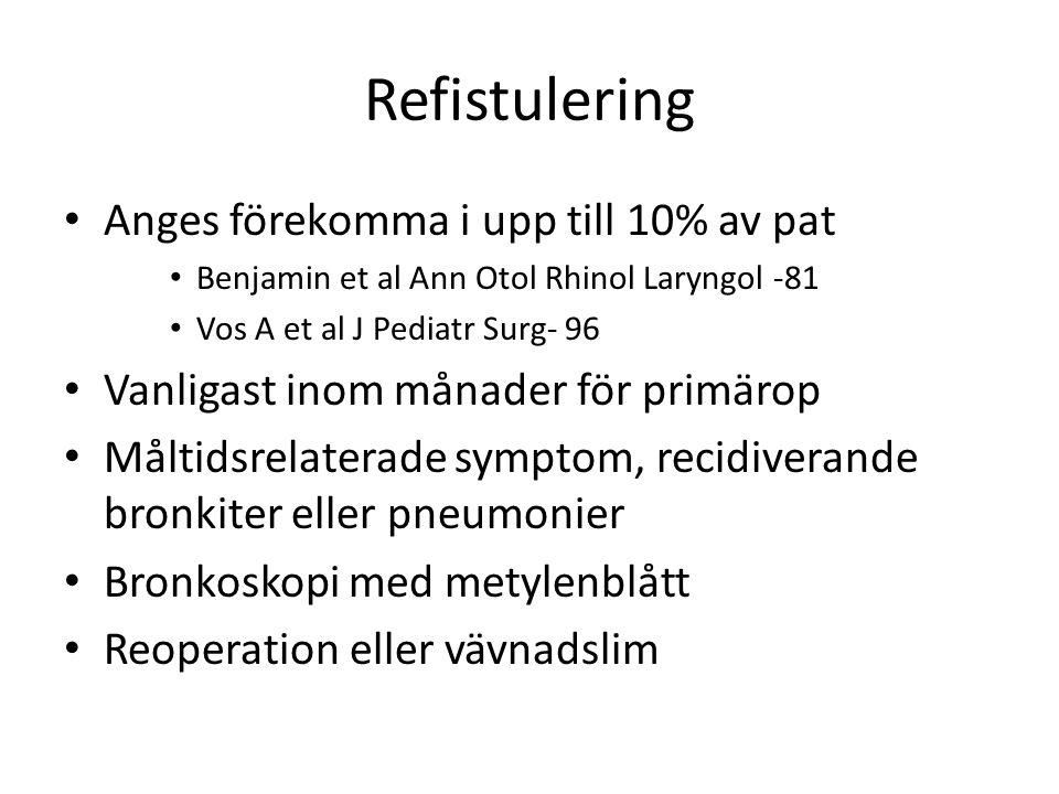 Refistulering • Anges förekomma i upp till 10% av pat • Benjamin et al Ann Otol Rhinol Laryngol -81 • Vos A et al J Pediatr Surg- 96 • Vanligast inom