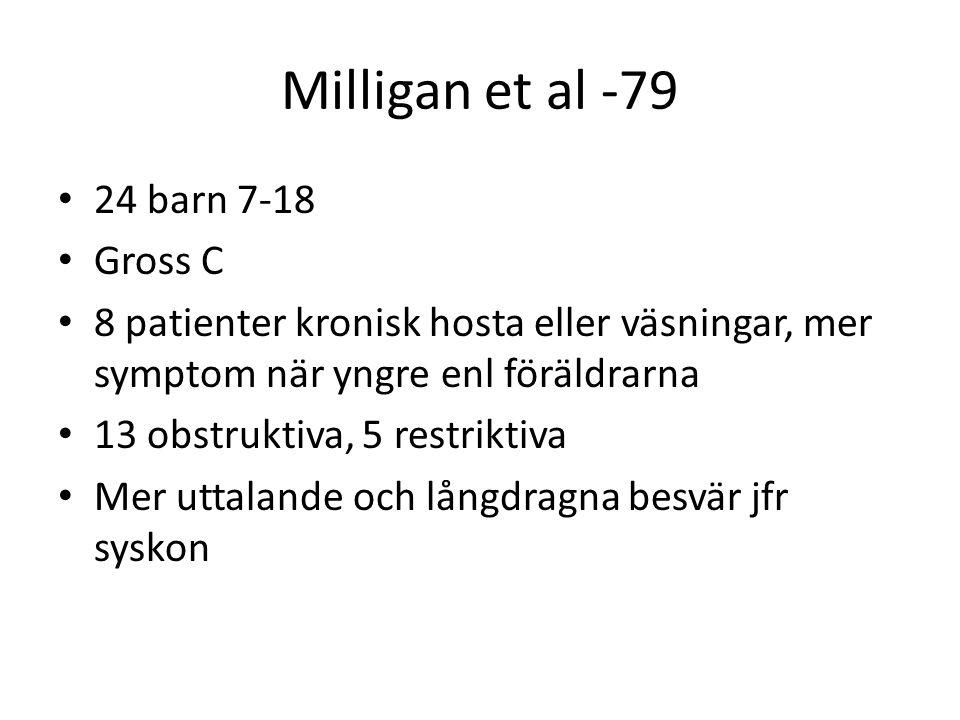 Milligan et al -79 • 24 barn 7-18 • Gross C • 8 patienter kronisk hosta eller väsningar, mer symptom när yngre enl föräldrarna • 13 obstruktiva, 5 res