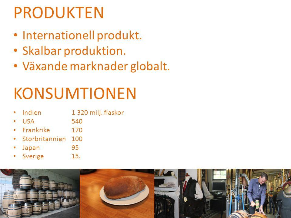 PRODUKTEN • Internationell produkt. • Skalbar produktion. • Växande marknader globalt. KONSUMTIONEN • Indien 1 320 milj. flaskor • USA540 • Frankrike