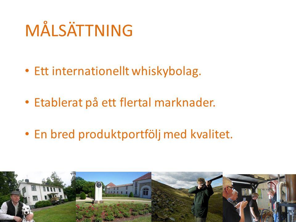 MÅLSÄTTNING • Ett internationellt whiskybolag. • Etablerat på ett flertal marknader. • En bred produktportfölj med kvalitet.