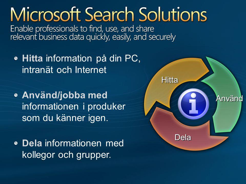 Använd Dela Hitta Hitta information på din PC, intranät och Internet Använd/jobba med informationen i produker som du känner igen.