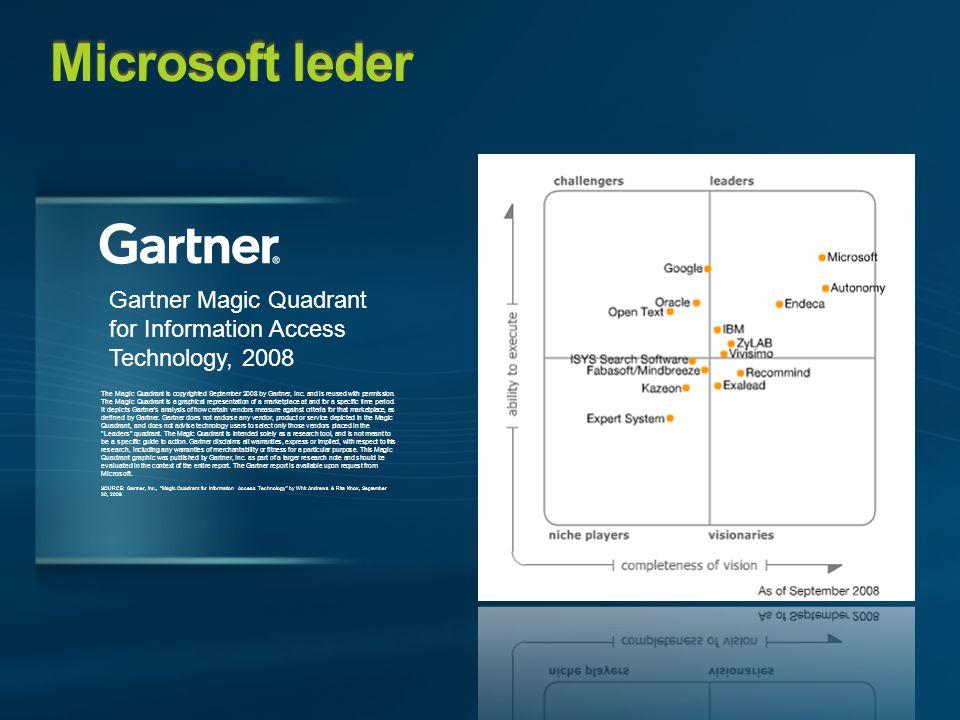Microsoft leder The Magic Quadrant is copyrighted September 2008 by Gartner, Inc.