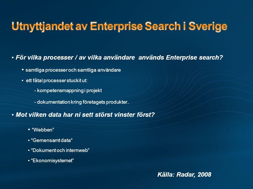 • För vilka processer / av vilka användare används Enterprise search.