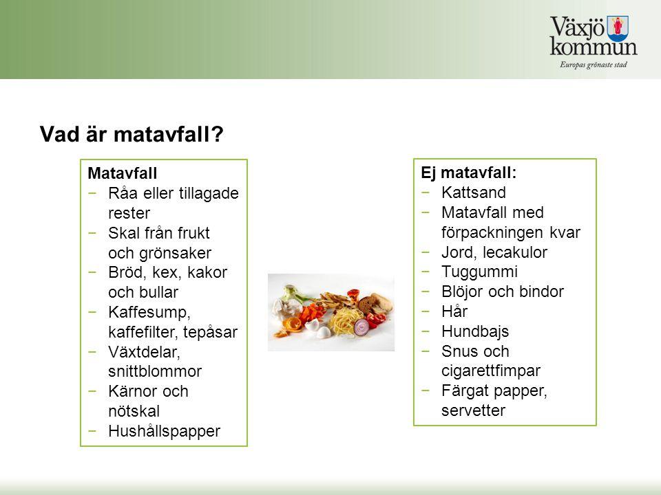 Vad är matavfall? Matavfall −Råa eller tillagade rester −Skal från frukt och grönsaker −Bröd, kex, kakor och bullar −Kaffesump, kaffefilter, tepåsar −
