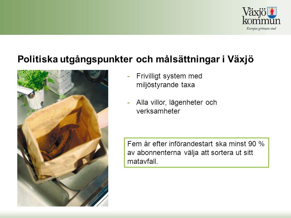 Politiska utgångspunkter och målsättningar i Växjö Fem år efter införandestart ska minst 90 % av abonnenterna välja att sortera ut sitt matavfall. -Fr