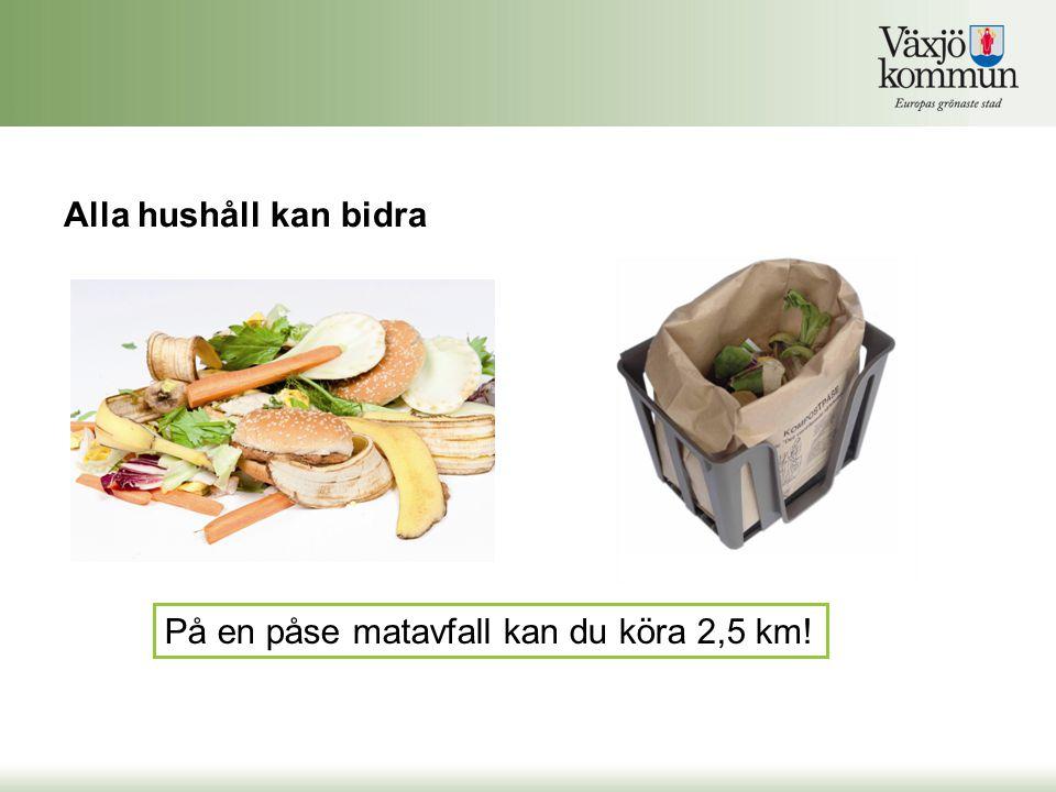 Alla hushåll kan bidra På en påse matavfall kan du köra 2,5 km!