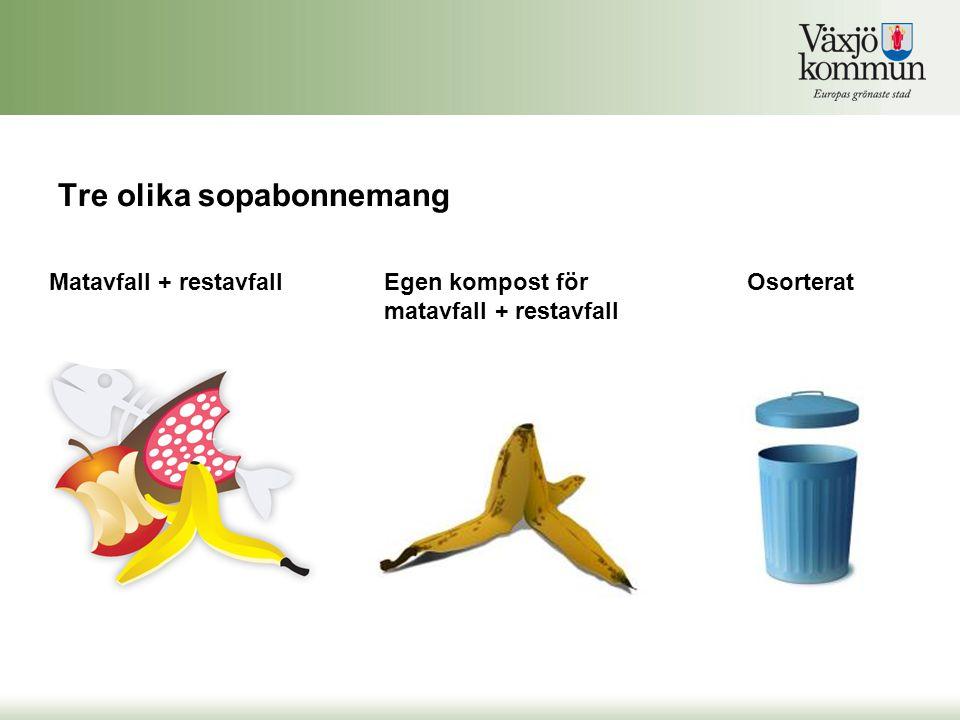 Tre olika sopabonnemang Egen kompost för matavfall + restavfall Matavfall + restavfallOsorterat