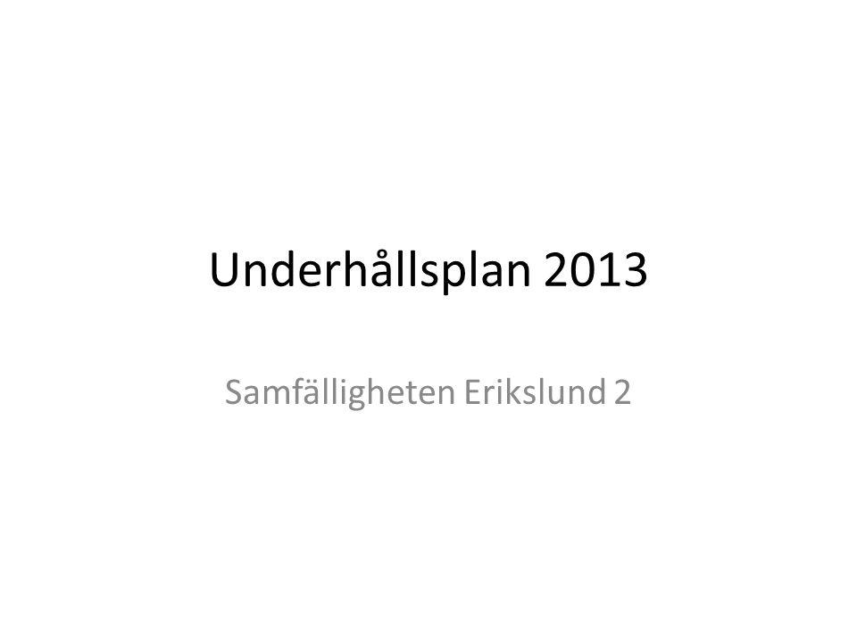 Underhållsplan 2013 Samfälligheten Erikslund 2