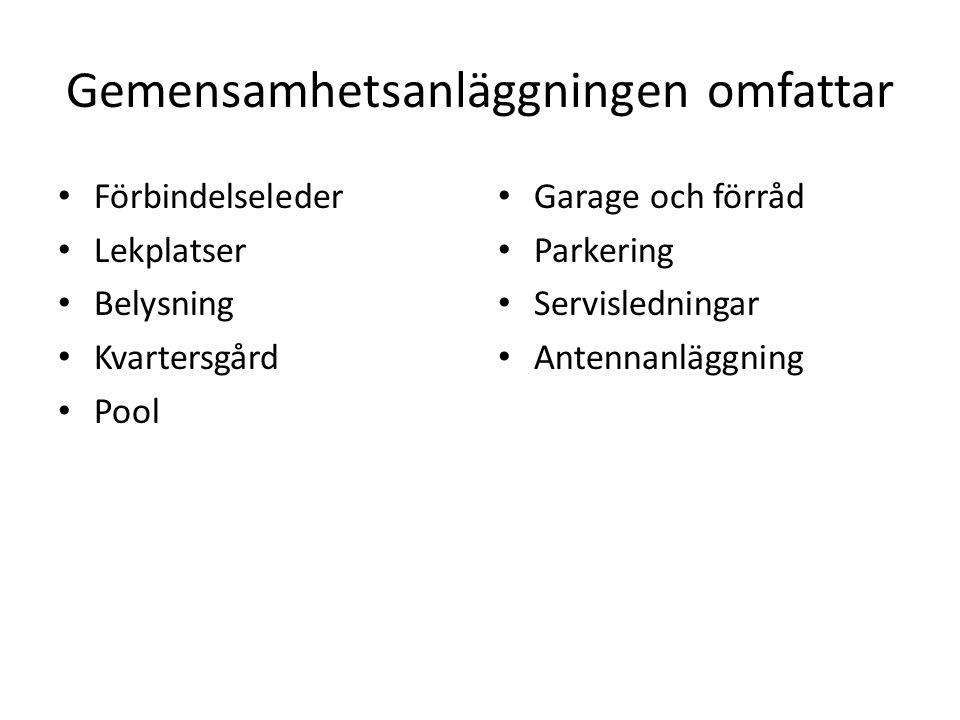 Gemensamhetsanläggningen omfattar • Förbindelseleder • Lekplatser • Belysning • Kvartersgård • Pool • Garage och förråd • Parkering • Servisledningar • Antennanläggning