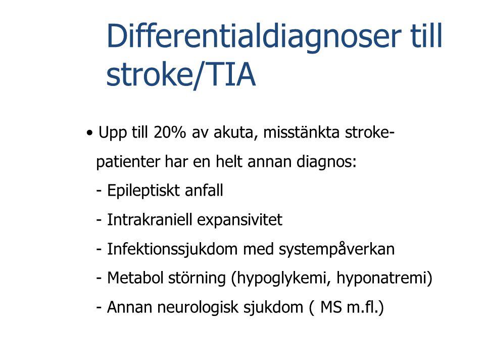 Differentialdiagnoser till stroke/TIA • Upp till 20% av akuta, misstänkta stroke- patienter har en helt annan diagnos: - Epileptiskt anfall - Intrakra