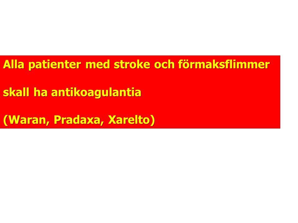 Alla patienter med stroke och förmaksflimmer skall ha antikoagulantia (Waran, Pradaxa, Xarelto)