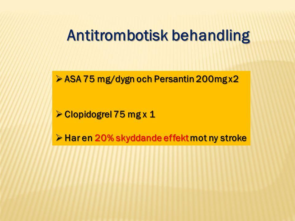 Antitrombotisk behandling  ASA 75 mg/dygn och Persantin 200mg x2  Clopidogrel 75 mg x 1  Har en 20% skyddande effekt mot ny stroke