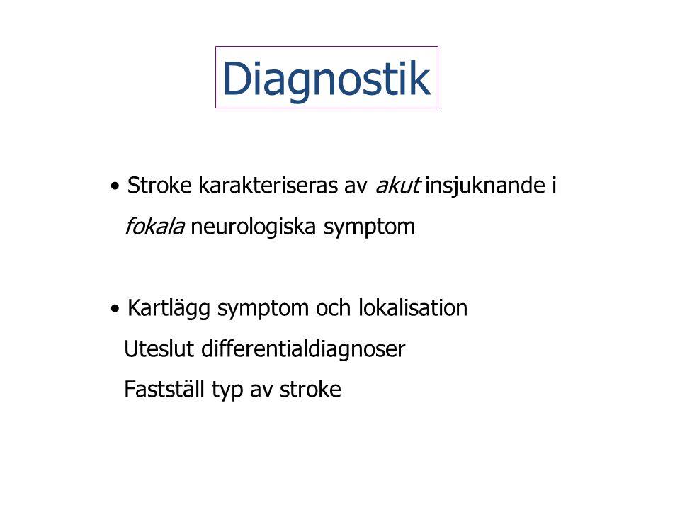 Diagnostik • Stroke karakteriseras av akut insjuknande i fokala neurologiska symptom • Kartlägg symptom och lokalisation Uteslut differentialdiagnoser
