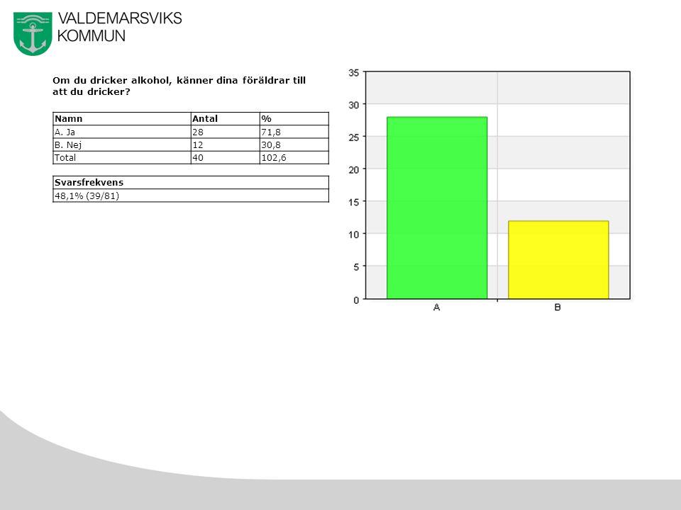 30 e) Förstört saker eller kläder NamnAntal% A.Aldrig2567,6 B.