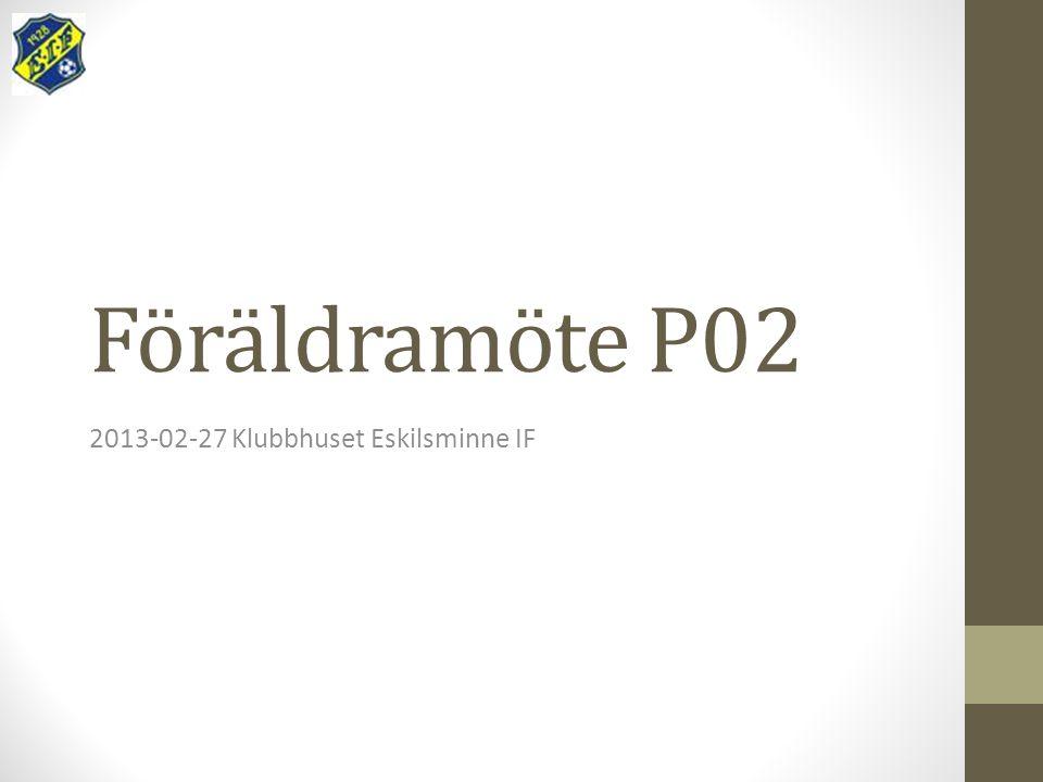 Föräldramöte P02 2013-02-27 Klubbhuset Eskilsminne IF