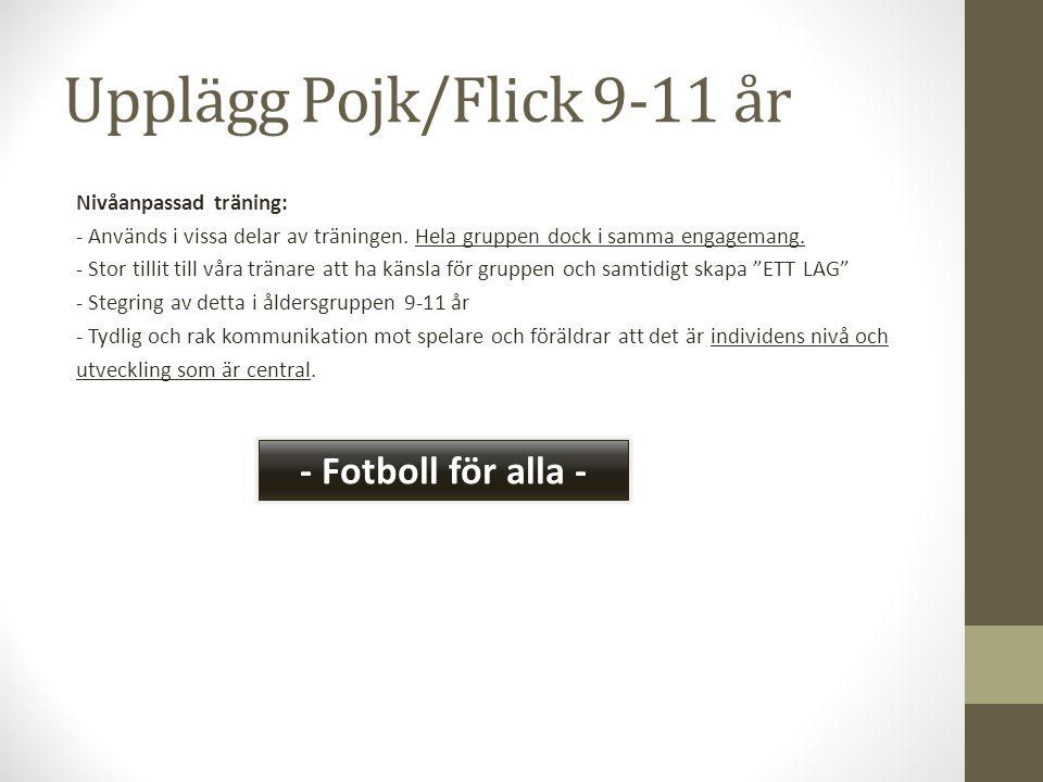 Upplägg Pojk/Flick 9-11 år Nivåanpassad träning: - Används i vissa delar av träningen. Hela gruppen dock i samma engagemang. - Stor tillit till våra t