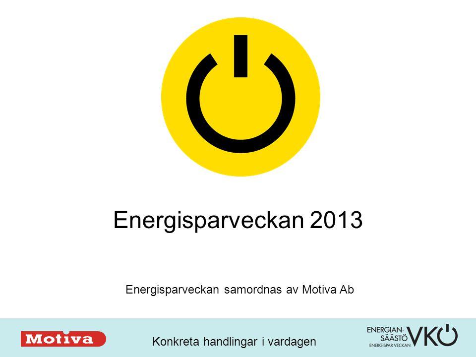 Konkreta handlingar i vardagen Energisparveckan 2013 Energisparveckan samordnas av Motiva Ab