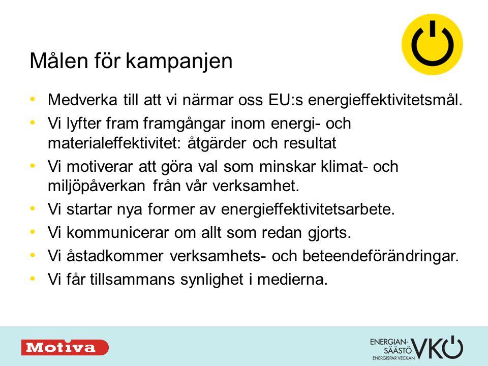 Målen för kampanjen • Medverka till att vi närmar oss EU:s energieffektivitetsmål.
