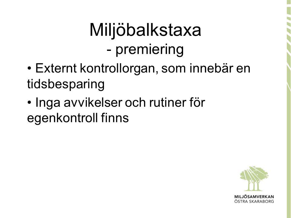Miljöbalkstaxa - premiering • Externt kontrollorgan, som innebär en tidsbesparing • Inga avvikelser och rutiner för egenkontroll finns