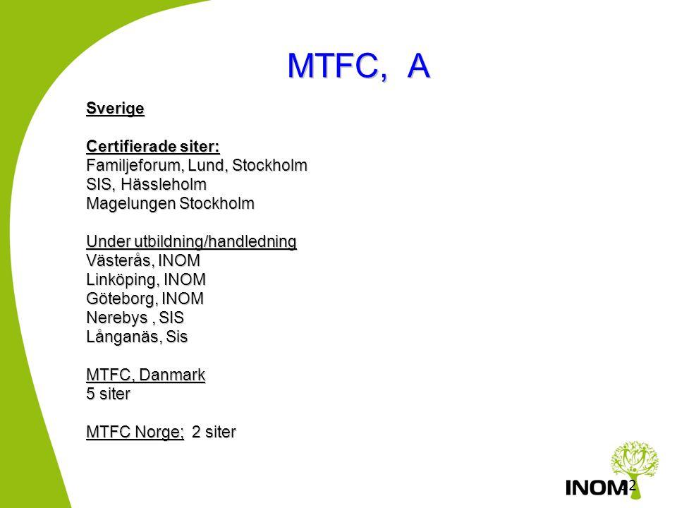 31 MTFC •MTFC –P (Pre-school) 3-6 år •MTFC –C (Childhood) 6-12 år •MTFC-A (Adolescence) 12-19 år