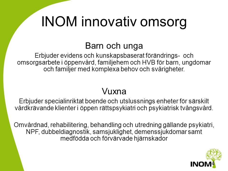 INOMs Vision •Vi vill vara med och skapa en högre standard inom våra verksamhetsområden med fler vård- och behandlingsmetoder som bygger på vetenskapl