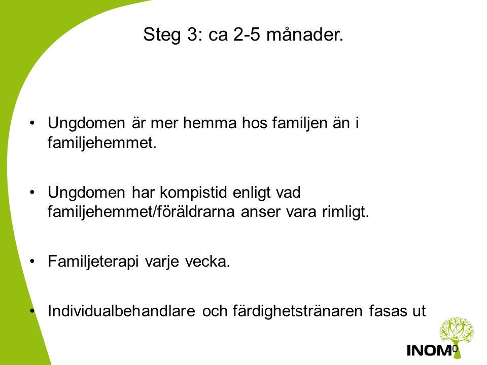 49 Steg 2: ca 3-6 månader •Ungdomen är till största delen i familjehemmet, men har möjlighet till kompistid, permission till biologiska familjen varan